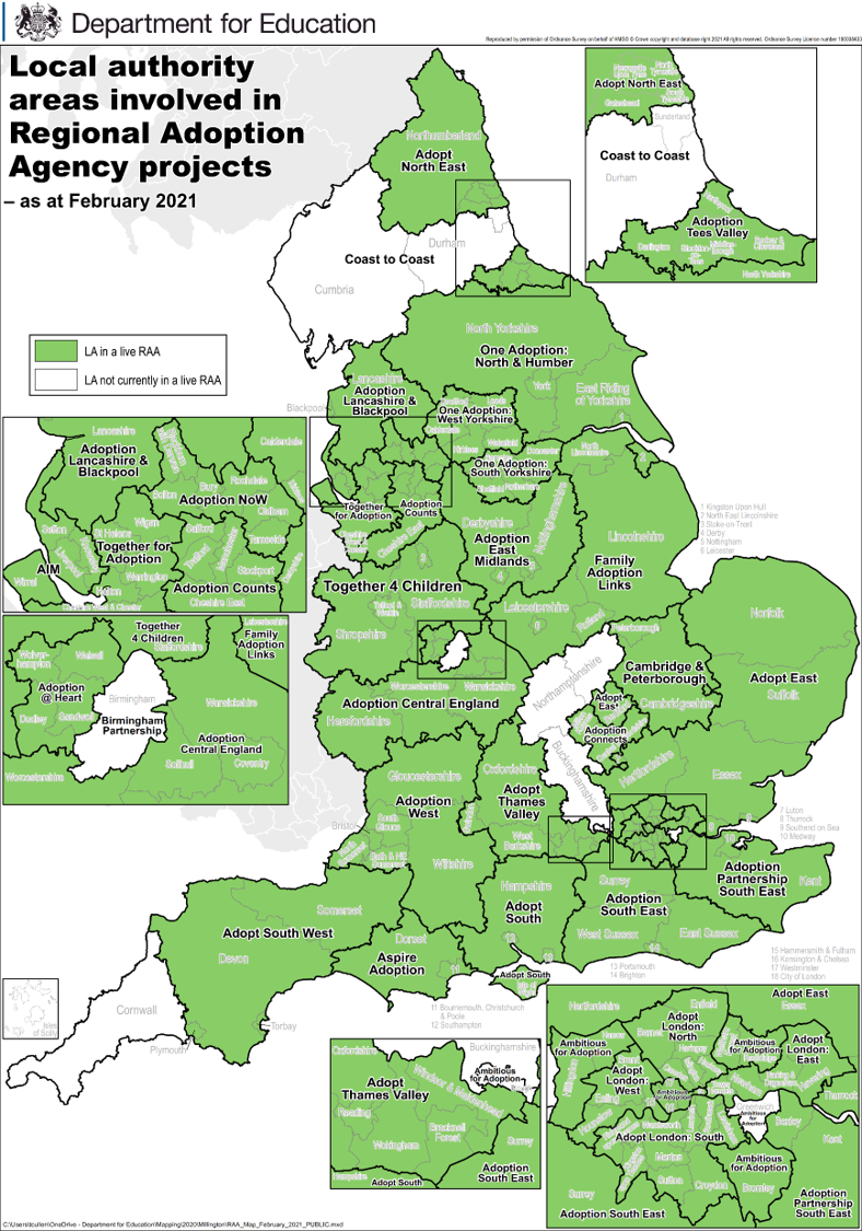 Department for Education RAA map