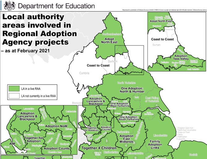 Local authority areas involved in Regional Adoption Agency Projects