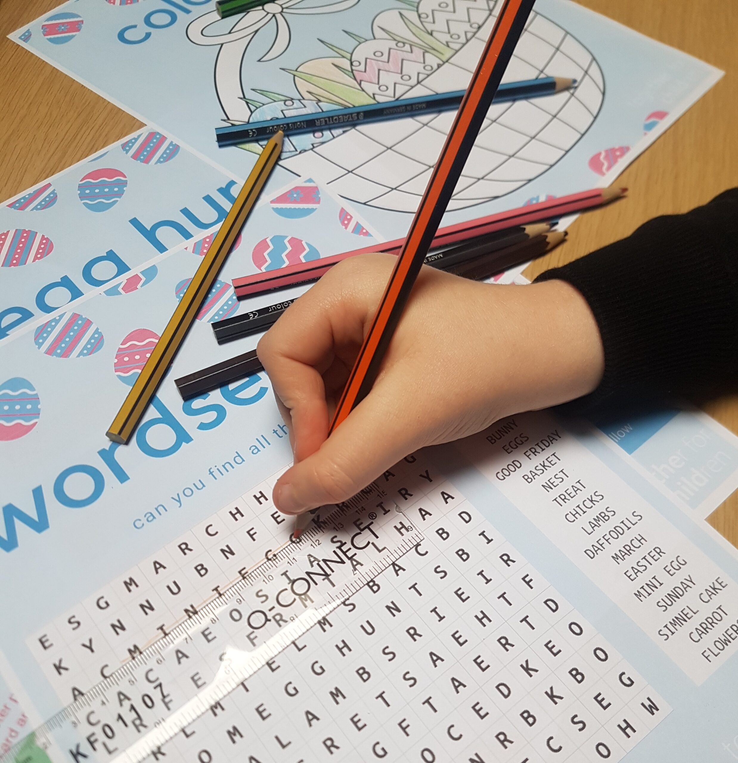 Child doing a wordsearch