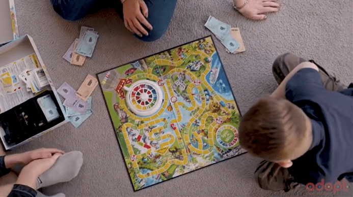 Child playing game of life