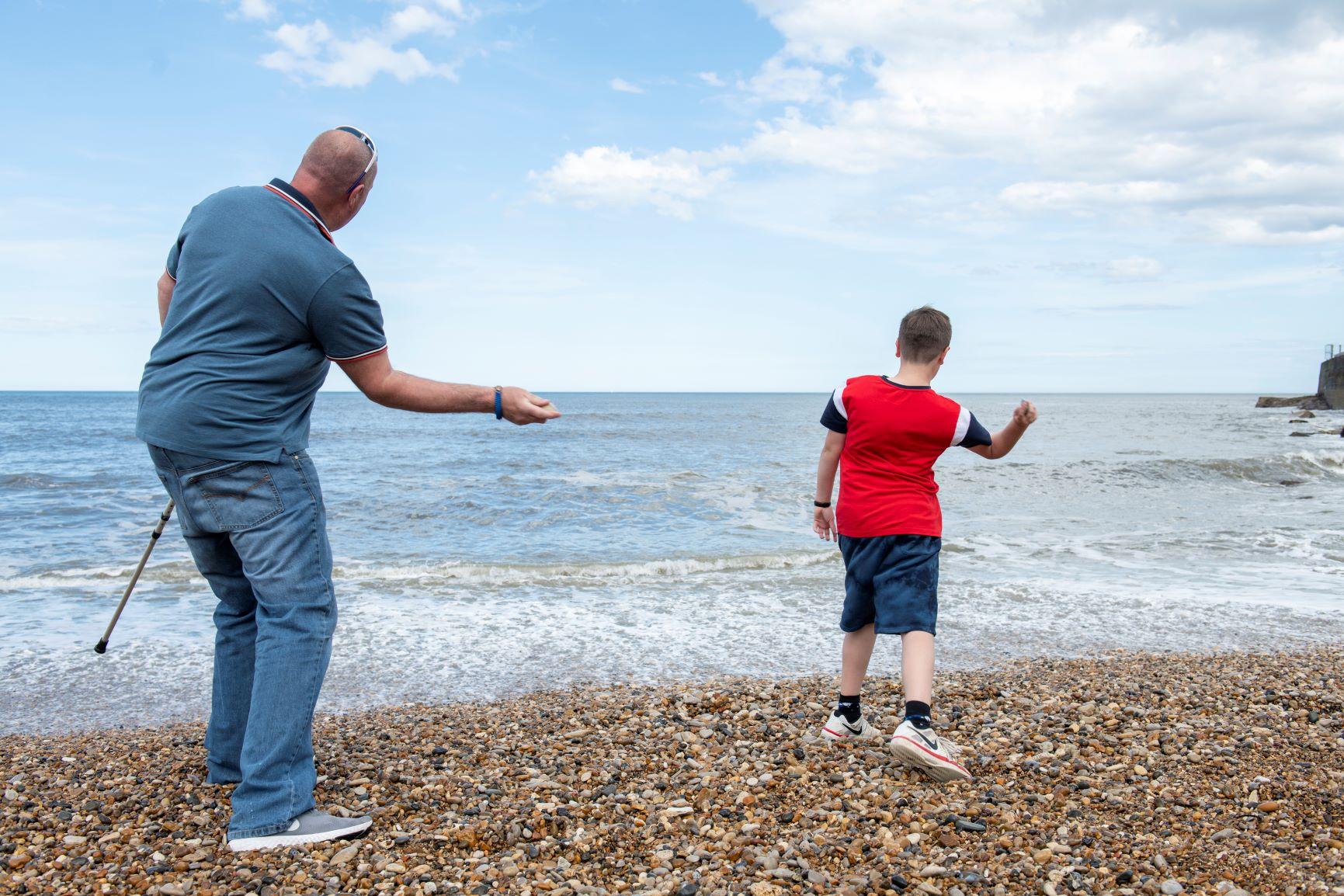 Stone skimming at Seaham Beach