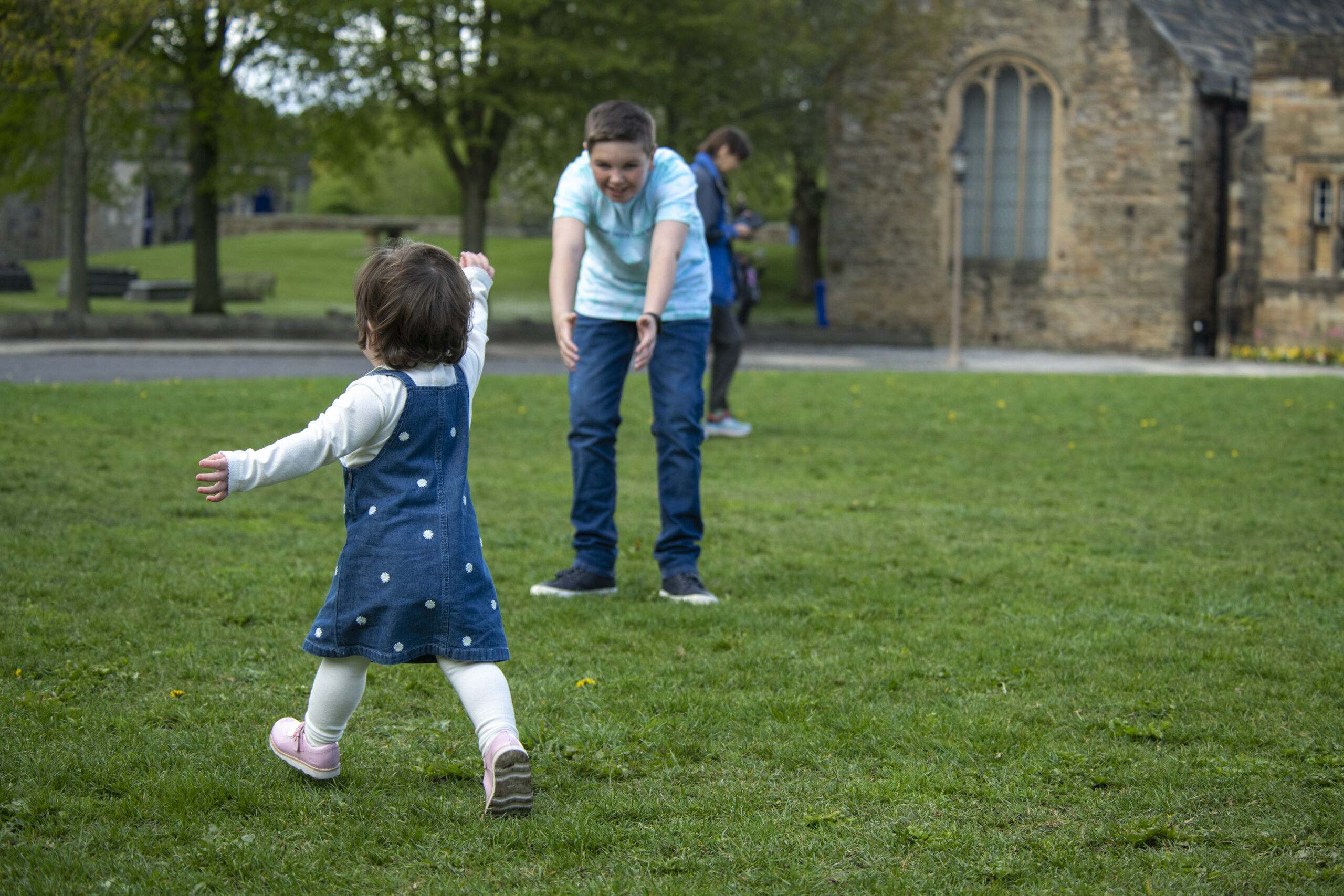 Brother and sister playing in Durham